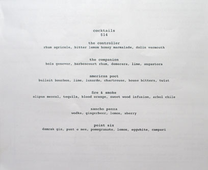 A.O.C. Cocktail List