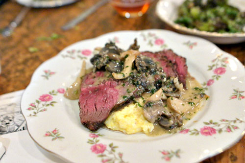 Hanger Steak, Polenta, Mushrooms, Snail, Herb Butter [$22.00]