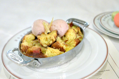 Rhubarb & Strawberry Bread Pudding