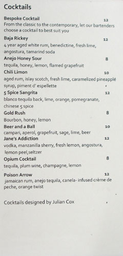 Playa Cocktail List