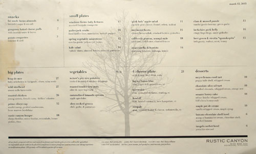 Rustic Canyon Menu