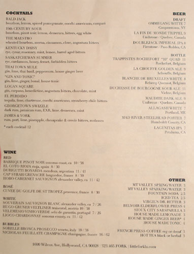 Littlefork Drink List