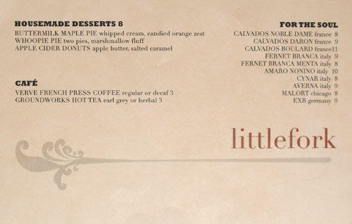 Littlefork Dessert Menu