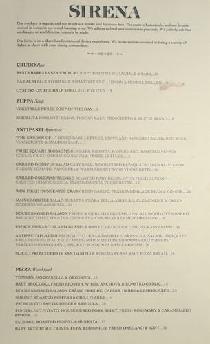 Sirena Menu