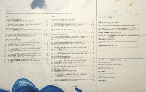 The Royce Steakhouse Drink Menu