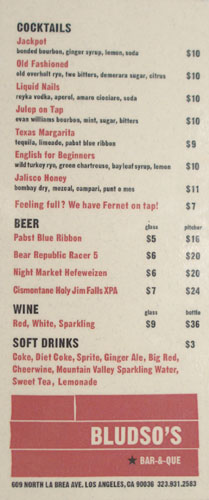 Bludso's Bar-&-Que Drink List