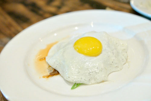 pig ear, chili, lime, fried egg