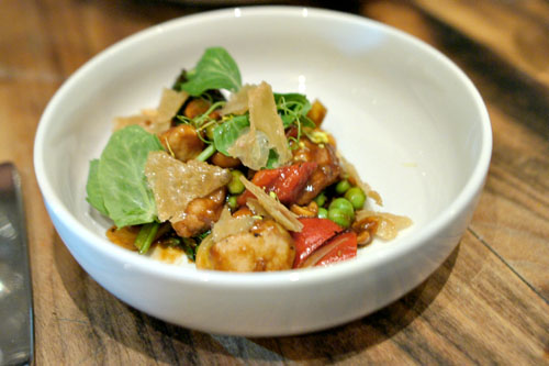 kung pao sweetbreads, english pea, szechuan peppercorn