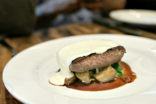 flat iron, sunchoke hash, truffle parmesan fondue