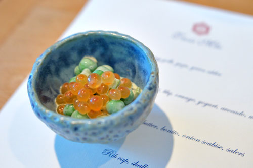 Peas and asparagus with salmon roe