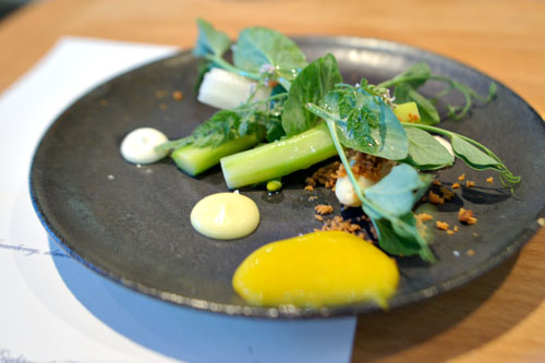 Asparagus, brioche, egg yolk, yuzu, green alder