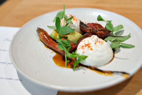 Carrot, bbq, orange, yogurt, avocado, watercress