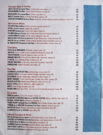 Fishing with Dynamite Wine List