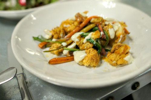 Curried Cauliflower and Carrots, Dandelion & Tahini Yogurt