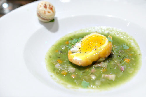 Minestrone, Serrano Ham, Ramps Hazelnut Pesto, Amy's Farm Duck Egg, Rillette FG Macaron