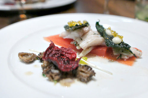 Cold Poached Skate, Fried Capers, Watermelon Pico, Bonito Emulsion, Dehydrated Kale, Blis Char Roe, Dehydrated Beets, Morels
