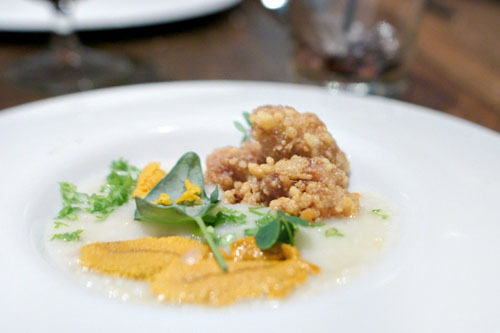 Rice Porridge, Veal Sweetbreads, Uni Bottarga, Uni, Wood Sorrel