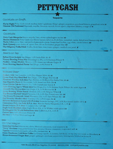 PettyCash Cocktails and Beer List