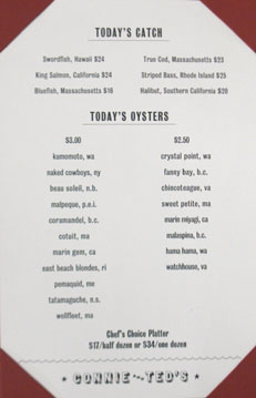 Connie & Ted's Oyster List and Catch of the Day