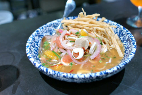 Fresh Hawaiian heart of palm ceviche, grapefruit, orange, jalapeño, tortilla