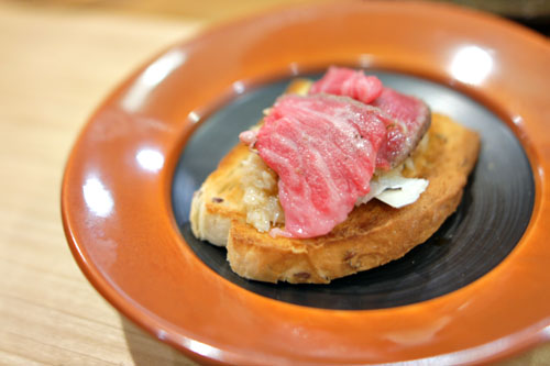 Beef Sashimi on Toast