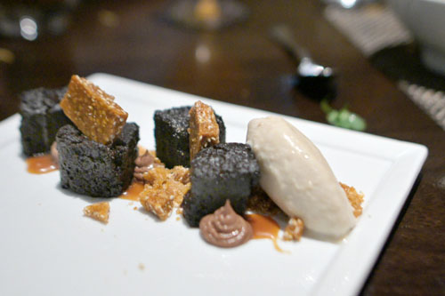 Chicory chocolate cake, sesame brittle, Thai chili caramel, chocolate pudding, sesame ice cream