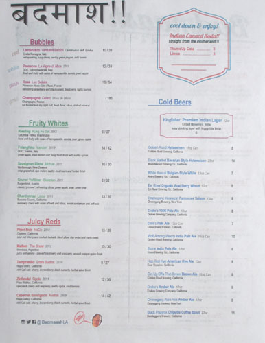 Badmaash Drink Menu
