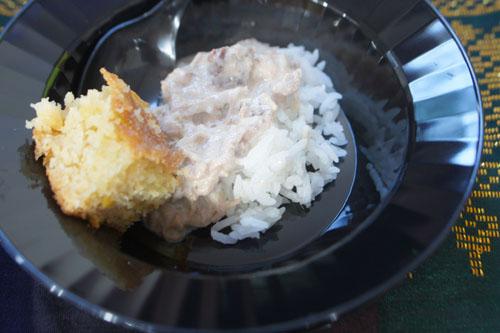 Mama Leah's Coconut Beef & Rice / Ann's Cornbread Bibingka