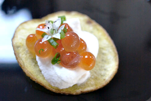 German Butterball Potato Chip, Coconut-White Soy Marinated Salmon Roe, Yuzu Cream