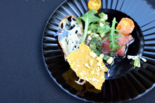 Salade Paysanne Fraicheur, Farmers Market Tomatoes, Eggplant, Zucchini, Sweet Corn, Herb Vinaigrette
