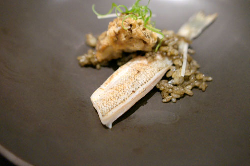 whiting, crispy mushroom, haiga rice, burdock, charred scallion