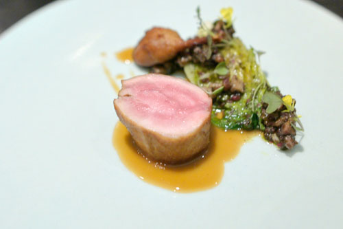 roast quail, lettuce heart, mustard