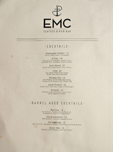 EMC Seafood & Raw Bar Cocktail List