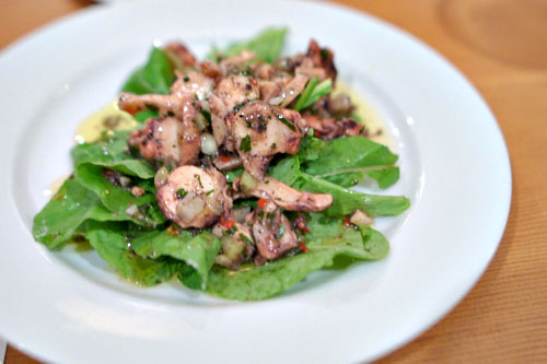 Octopus Salad with Pickled Vegetables and Arugula