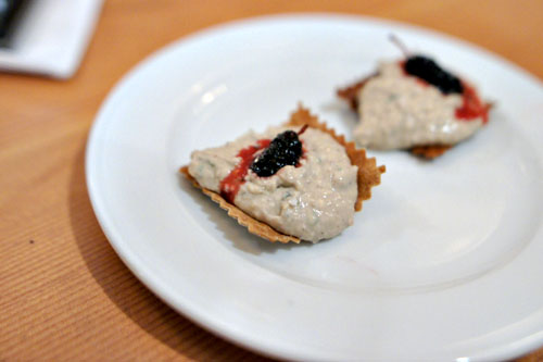 Rabbit Liver (almost) Mousse on Homemade Crackers with Mulberry Jam