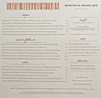 Birch & Barley Menu