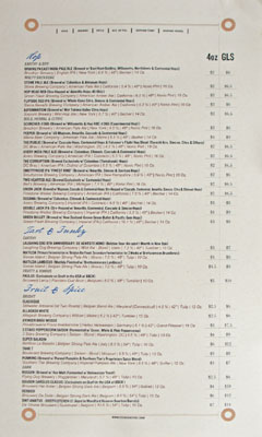 Birch & Barley Draughts List