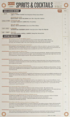 Birch & Barley Spirits List