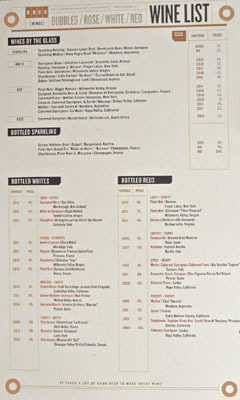 Birch & Barley Wine List