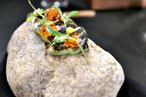 Avocado, sake salmon roe, cilantro, togarashi, lavash