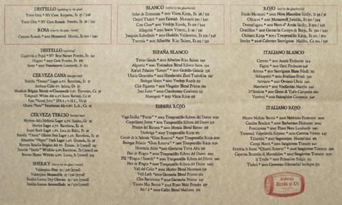 Taberna Arros y Vi Wine List