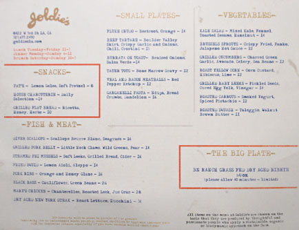 Goldie's Menu