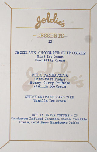 Goldie's Dessert Menu