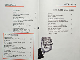 Goldie's Cocktail List