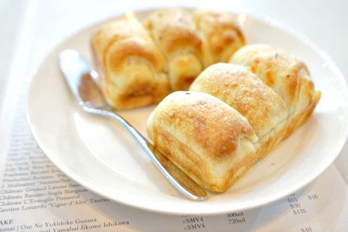 milk-bread focaccia with butter, testa