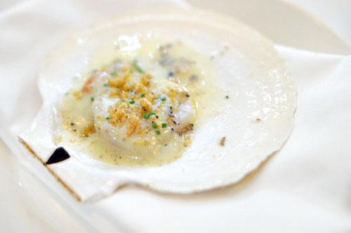 live scallop, spigarello, ham, shellfish béarnaise