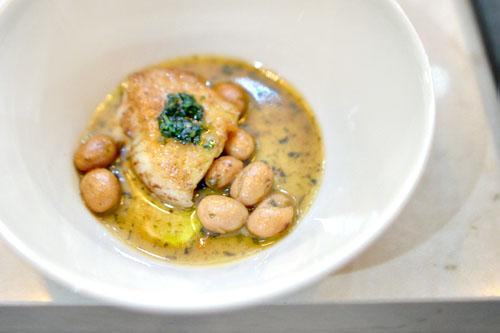 john dory with braised beans, salsa verde, yuzu kosho