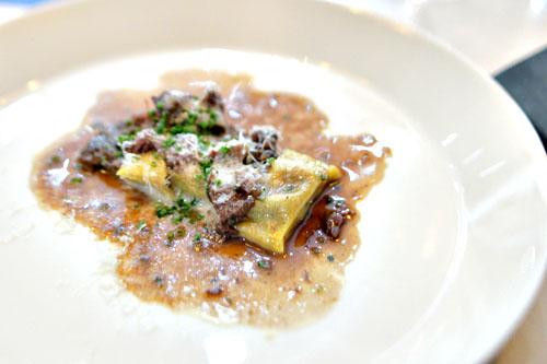 agnolotti with lamb cheek, sardo, rye, mint lavender