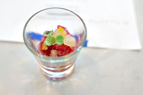 pomegranate granita, meyer lemon