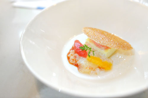 custard with grapefruit, coconut tapioca